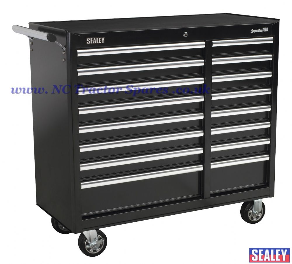 Rollcab 16 Drawer with Ball Bearing Runners Heavy-Duty - Black